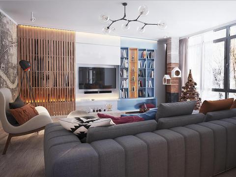 90㎡北欧风装修设计,蓝白原木三色交接,营造出温馨的两居室