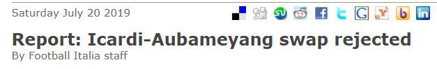 伊卡尔迪只想去尤文,拒绝和奥巴梅扬互换