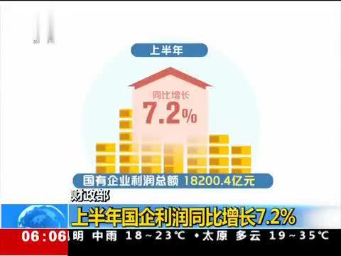 财政部 上半年国企利润同比增长7.2%
