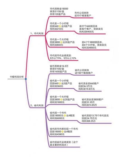 程雪发送给新京报记者的卡瘦利润分析。