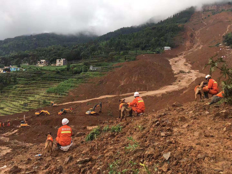 贵州六盘水滑坡幸存者家属:妻儿和老父仍无消息 山体滑坡 水城