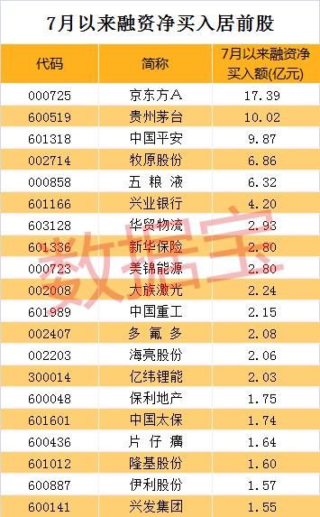 融资客大手笔加仓股名单曝光 千亿白马京东方A成新宠