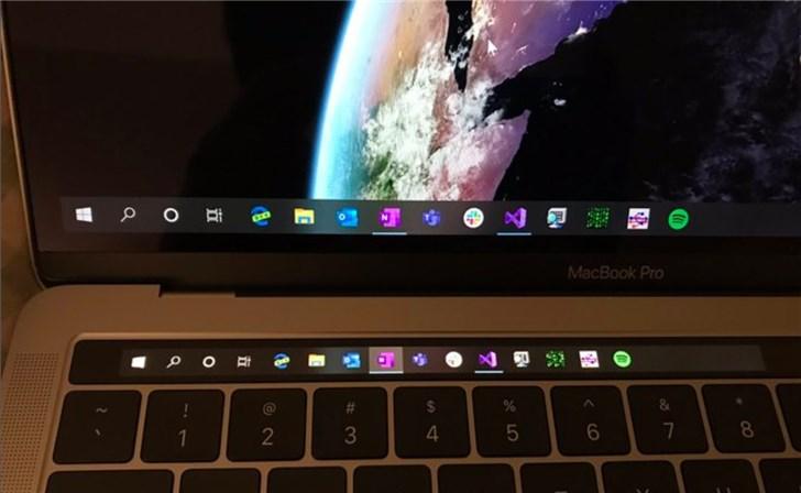 苹果MacBook Pro Touch Bar用上Windows 10任务栏