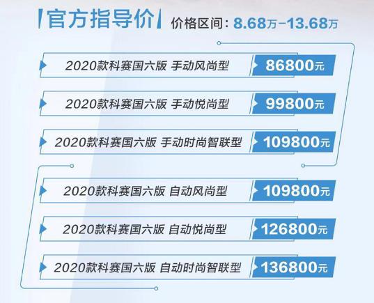 新款长安欧尚科赛上市,售8.68-14.58万元