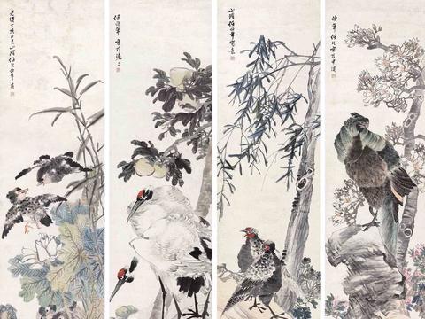 任伯年的花鸟四条屏最受追捧,虚谷擅长松鼠和金鱼的创作
