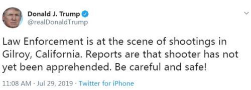 美國總統川普在社交網站上發文稱,執法人員已趕到事發現場。請大家小心,注意安全(圖片來源:川普社交網站截圖。)