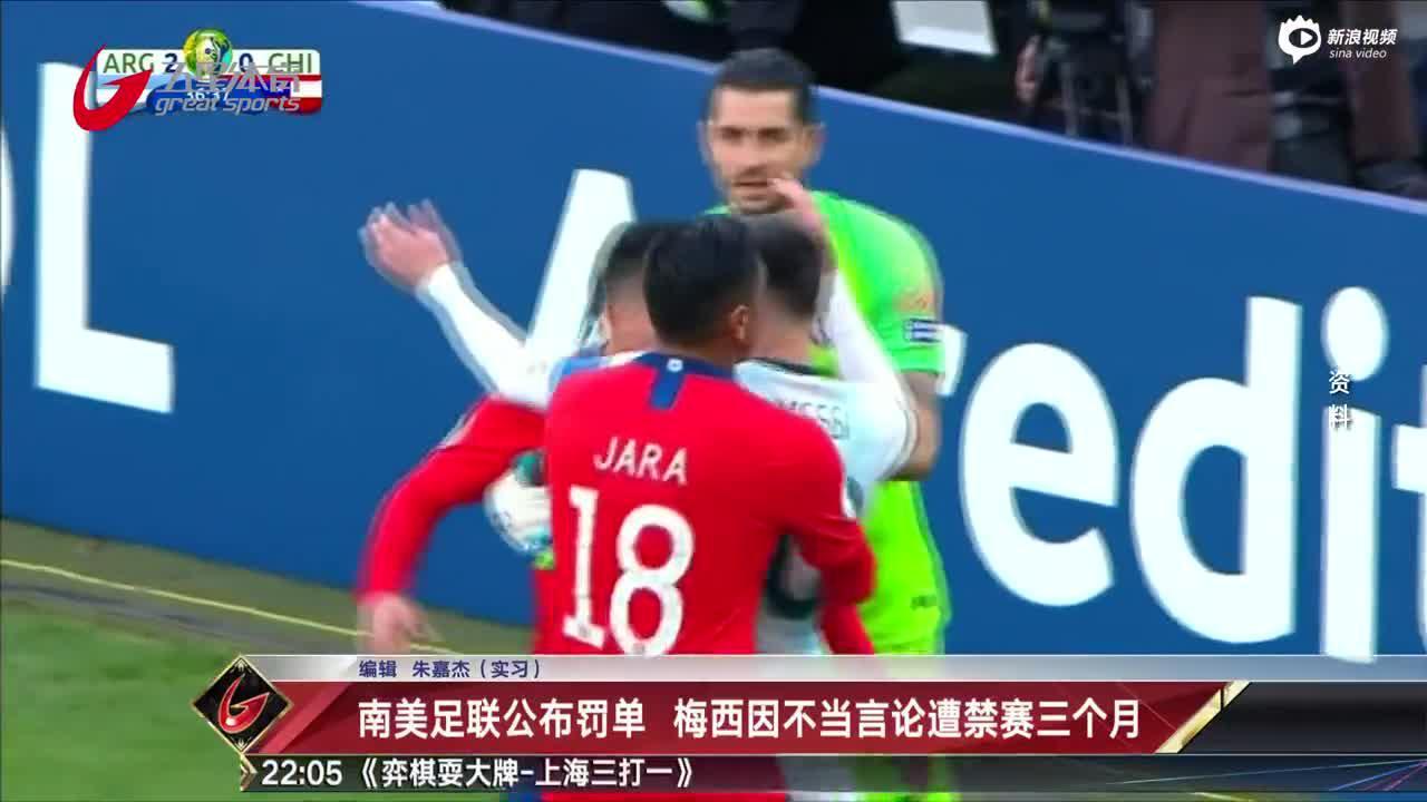 视频-南美足联公布罚单 梅西因不当言论遭禁赛三个月