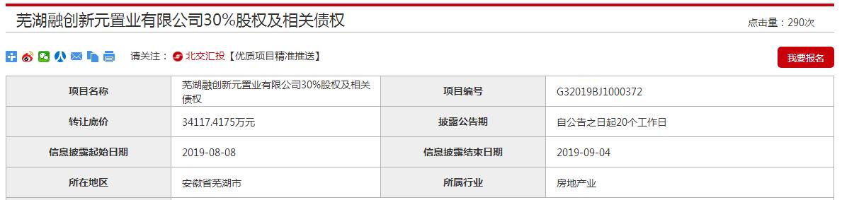 新兴际华拟转让融创芜湖项目30%股权及债权 底价3.41亿