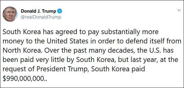 韩国回应特朗普敲竹杠:尚未敲定防卫费分担事项|特朗普
