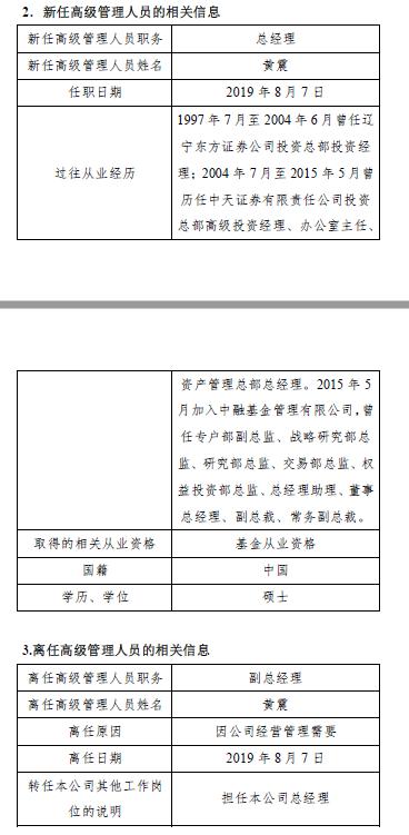 中融基金副总经理黄震升任总经理 董事长王瑶不再代任