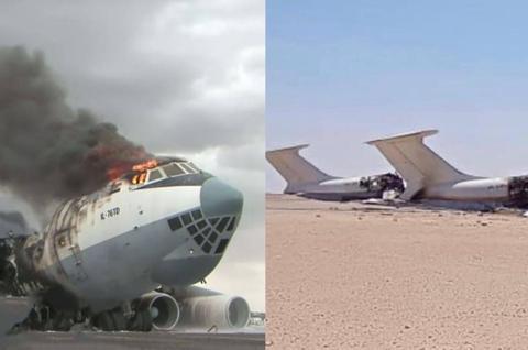 元帅哈夫塔尔下令开火,翼龙无人机发射导弹,炸毁一架伊尔76大运