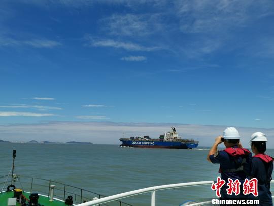 台风过后疏港忙 洋山第一艘大型集装箱船进港