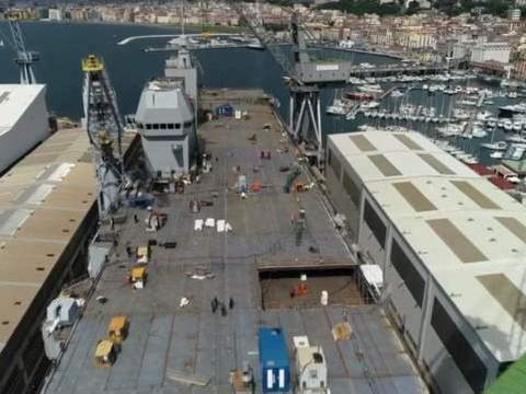 意大利最新航母下水,为何非要安装76舰炮?这是打算与对手打炮战