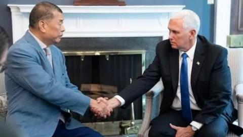 黎智英和美國副總統彭斯(右)會面。
