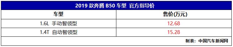 2019款奔腾B30/B50上市,售价8.68-15.28万