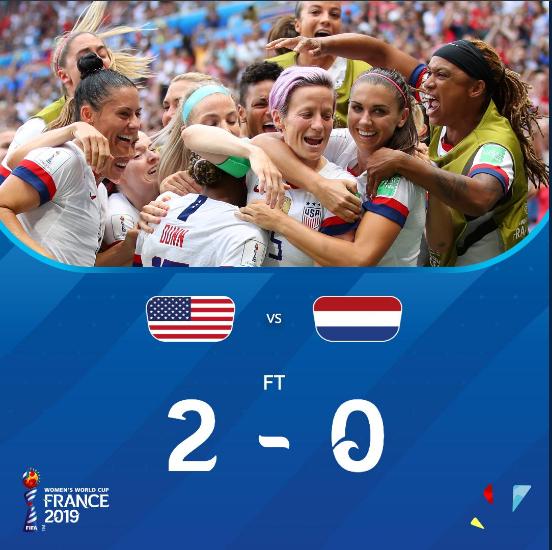 女足世界杯-美国2-0荷兰卫冕 创纪录第四次夺冠