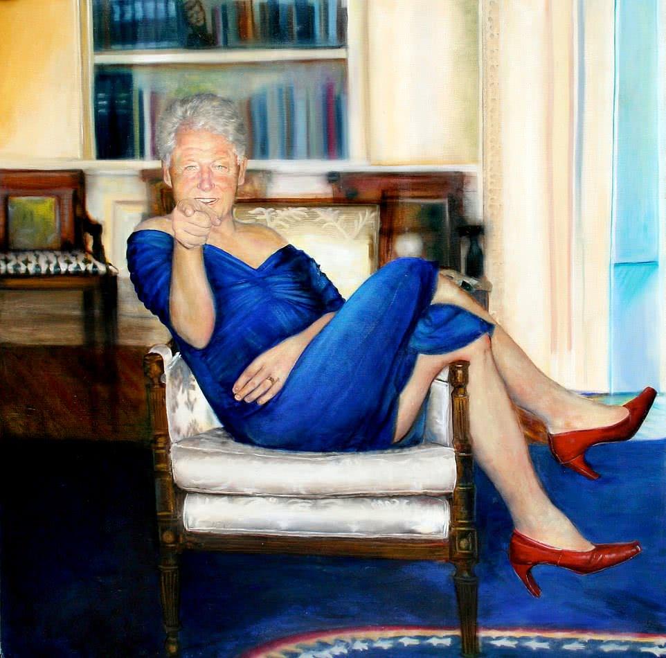 """爱泼斯坦豪宅中搜出的""""女装克林顿""""是谁画的?作者找到了!而且她给小布什也画了一幅"""