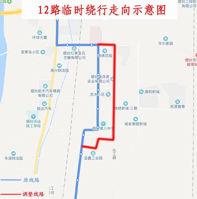 8月16日起,烟台市区12路、18路公交临时绕行