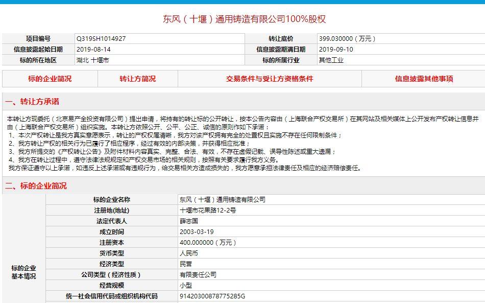 底价399.03万元,东风实业申请转让东风铸造股权