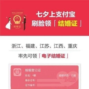 支付宝上线电子结婚证:全国5省市支持