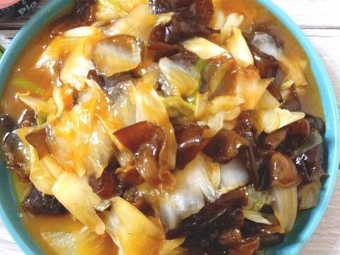 夏日减肥菜谱,蚝油木耳炒白菜,比肉好吃的素菜菜谱,美味下饭