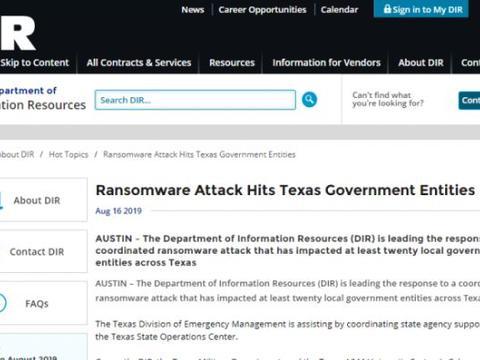 德克萨斯州20个地方政府机构网络遭勒索软件攻击