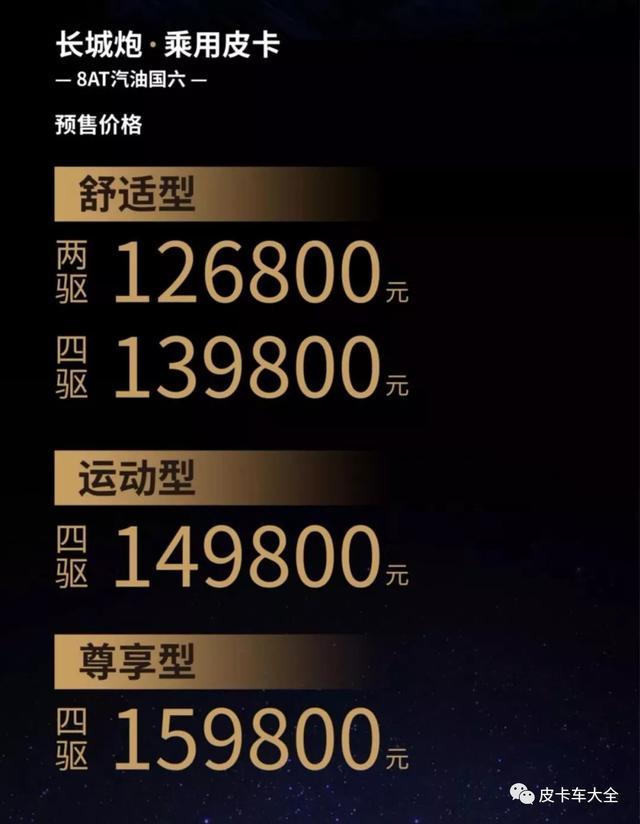 长城炮乘用版皮卡价格已定 汽油版预售价为12.68-15.98万