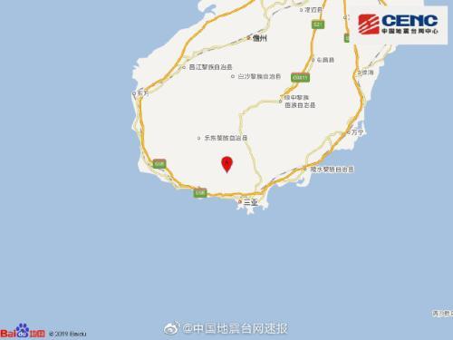 海南三亚市天涯区发生4.2级地震震源深度12千米