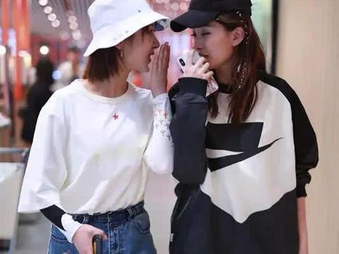 杨紫乔欣机场偶遇,姐妹开心交谈,这次杨紫的小短腿敲可爱