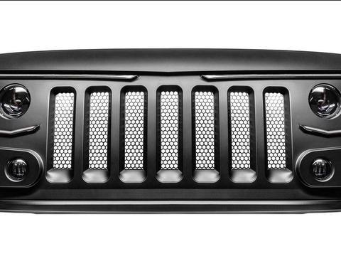 Jeep牧马人格栅替换套件集成特殊灯组照明 展示炫目灯光秀