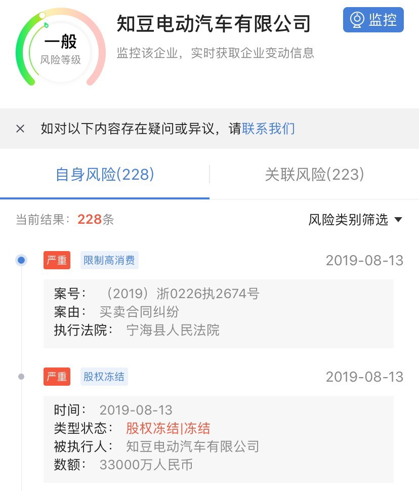 知豆电动汽车创始人鲍文光因合同纠纷被限制高消费