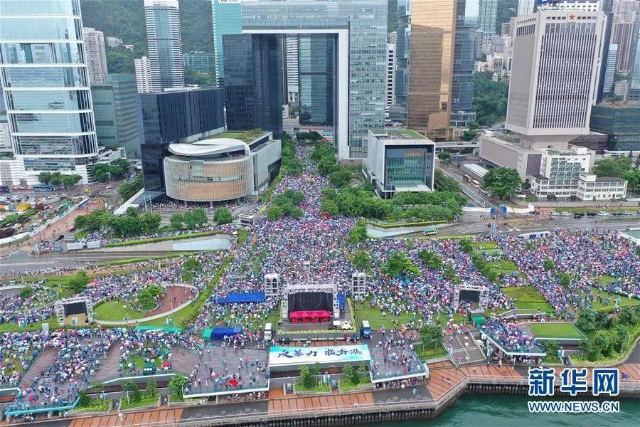 """▲8月17日,香港各界人士在金钟添马公园举行""""反暴力、救香港""""集会。新华社记者 吕小炜 摄"""