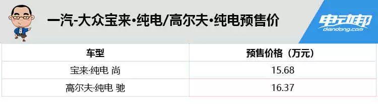 预售15.68/16.37万元!大众宝来/高尔夫·纯电正式官宣!