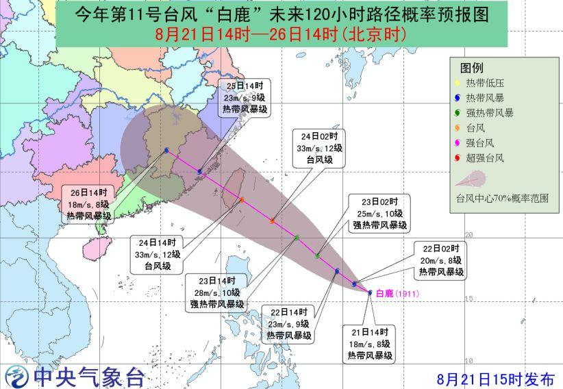 """注意!11号台风""""白鹿""""生成!明天起将影响宁德沿海和渔场!"""