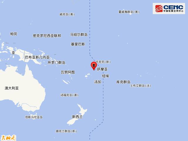 斐济群岛地区发生5.9级地震
