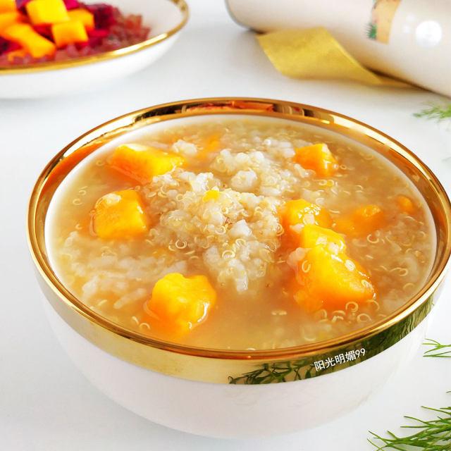 用藜麦做成粥,颗颗米粒口感筋道,绵绸润滑,清香软糯