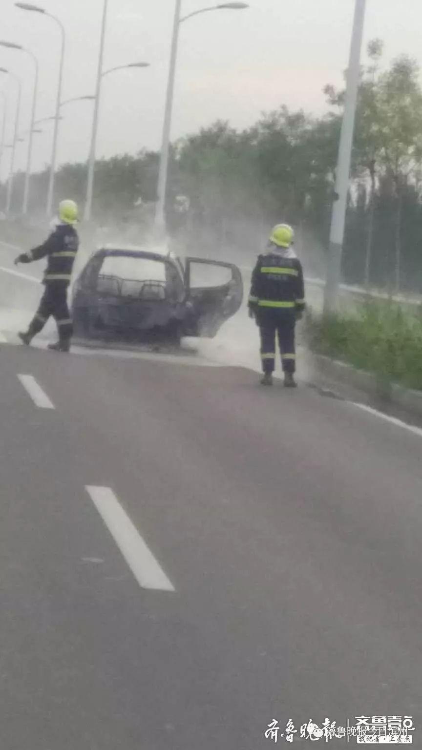 突发!滨州南外环一电动汽车着火…