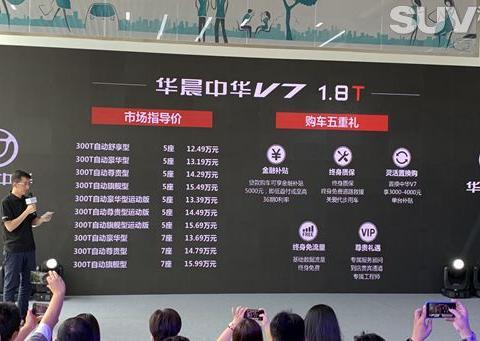 华晨中华V7 1.8T车型上市 售12.49-15.99万元