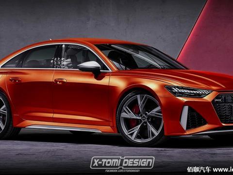 奥迪RS6三厢版渲染假想图 构想宝马M5竞争对手外观造型
