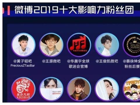 十大影响力粉丝团出炉,华晨宇、蔡徐坤等上榜,杨幂是唯一80后