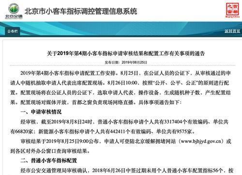 北京小客车指标办:新能源小客车指标年度配额已用尽
