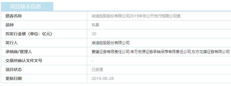 启迪控股30亿元私募债上交所已受理