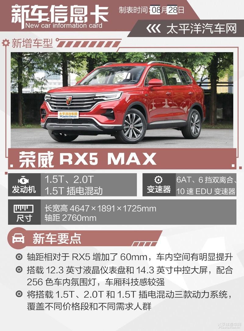 荣威RX5 MAX正式上市 指导价11.88-18.98万元