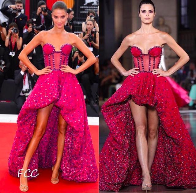 威尼斯红毯斯嘉丽约翰逊有心机,礼服换上这领口,秒告别背阔膀圆