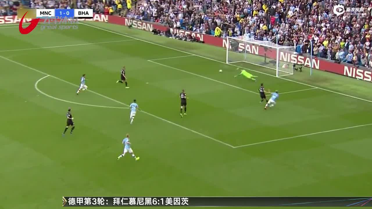 视频-阿圭罗两射一传 曼城四球轻取布莱顿