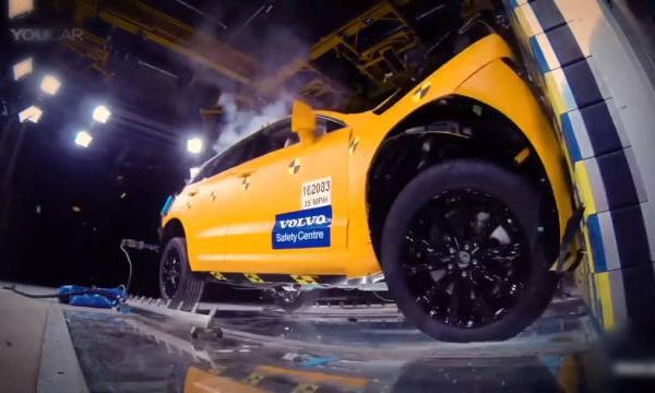 视频:XC60碰撞测试,还车辆测翻滚呢。