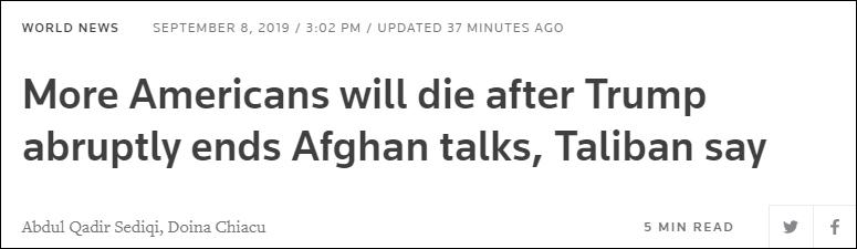 塔利班说,特朗普突然取消阿富汗谈判后,更多的美国人会死 路透社