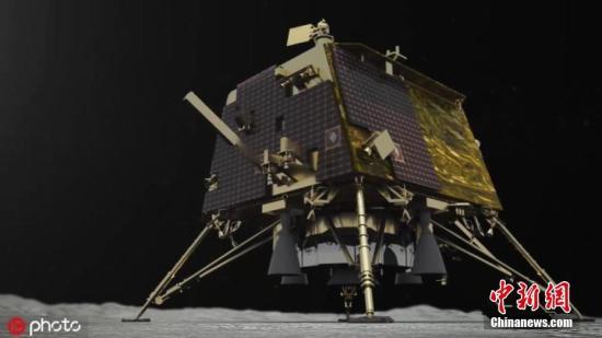 """當地時間9月8日,印度空間研究組織(ISRO)發佈未註明日期的""""月船2號""""登陸器""""維克拉姆""""號登陸的模擬圖片。圖片來源:ICphoto"""