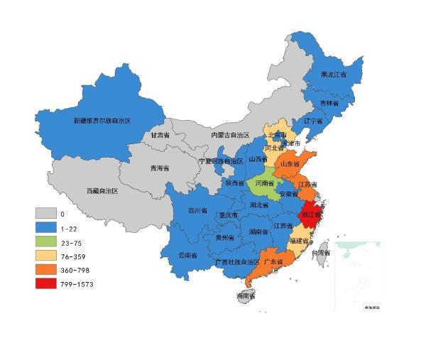 2019年中国各省淘宝村数目散布,数据滥觞:阿里研讨院。