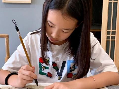 赵文卓小女儿开始学国画,认真画画的小月儿萌翻了
